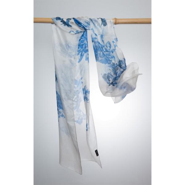 Seidenschal 100%Silk 50x180cm Weiß mit blauen Blumenornamenten