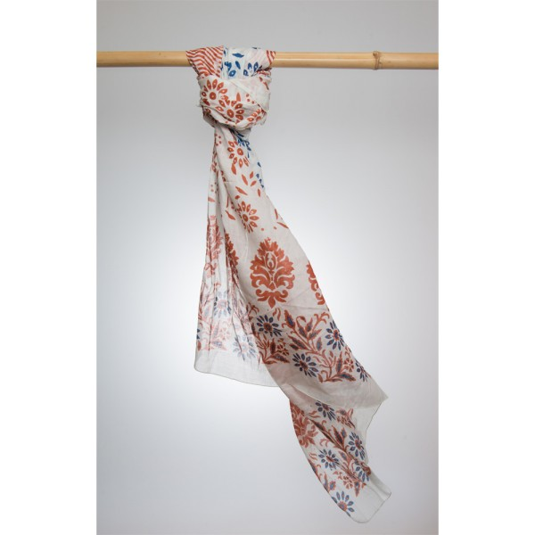 Cotton Printed Pareo 100% Cotton 105x180 cm Orange/Blau