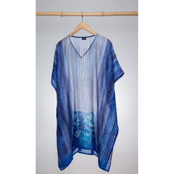 Kaftan Seide 100% Silk 95cm (V-Neck) cm Dunkelblau
