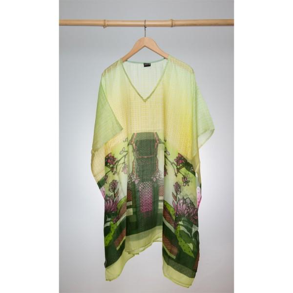 Kaftan Seide 100% Silk 95cm (V-Neck) cm Gelbgrün mit Motiv Japanischer Garten
