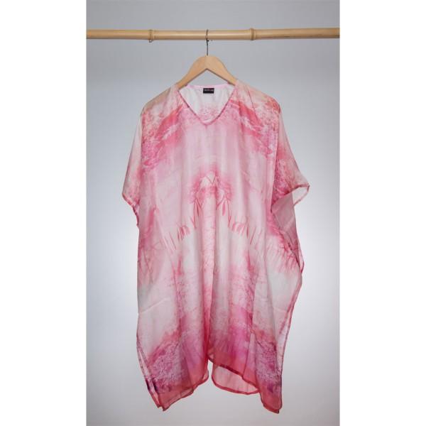 Kaftan Seide 100% Silk 95cm (V-Neck) cm Pink