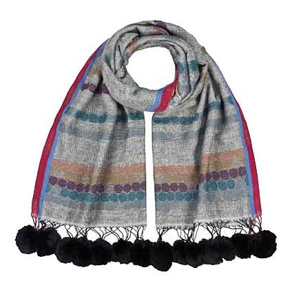 Wollschal Pom / Pom 55%Wolle/45%Baumwolle 70 x 180 cm Grau/ Punkte