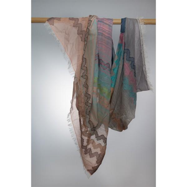 Wollschal 100% Wolle 100X180 cm Rose / Pink / Grau Mit Streifenmuster