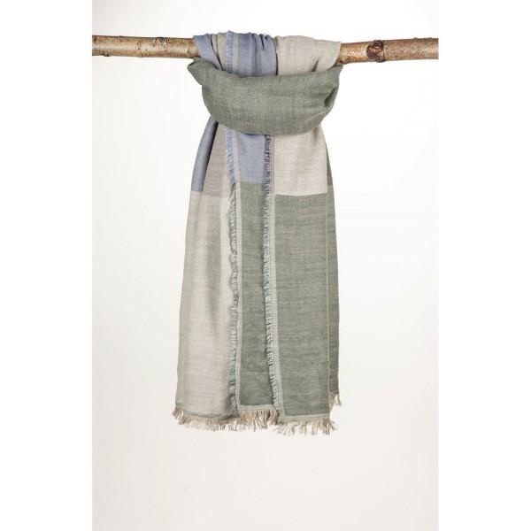 Wollschal 72%Cotton/28%Wolle 90X180 cm Grün/Blau