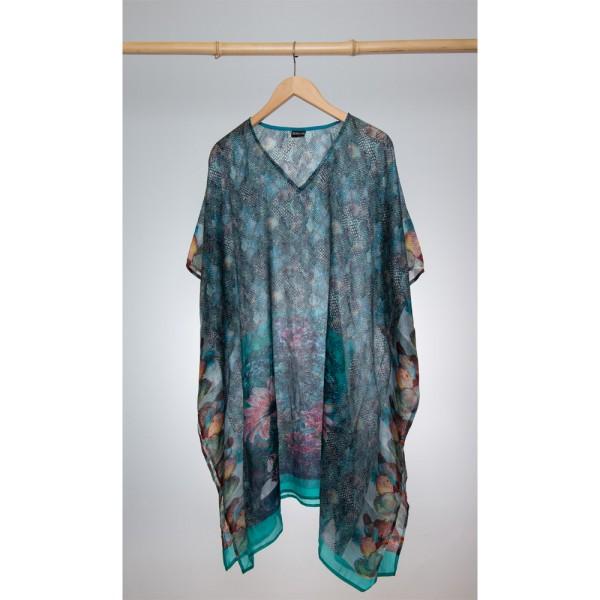 Kaftan Seide 100% Silk 95cm (V-Neck) cm Türkis Schwarz
