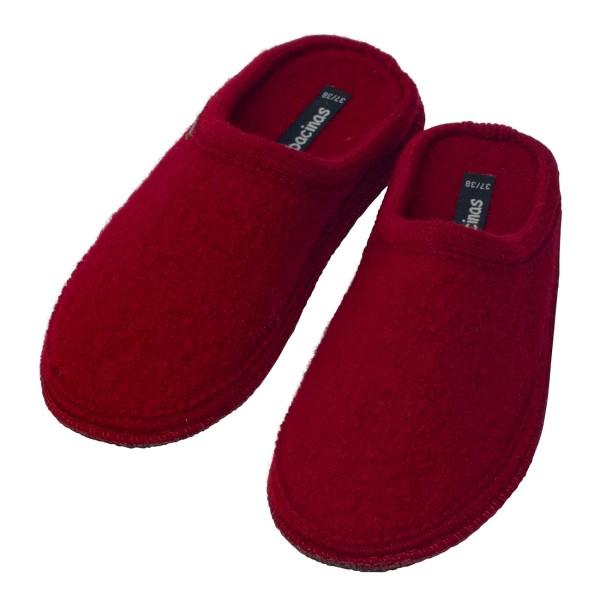 Hausschuhe - Pantoffeln aus gewalkter Schafwolle Dunkelrot