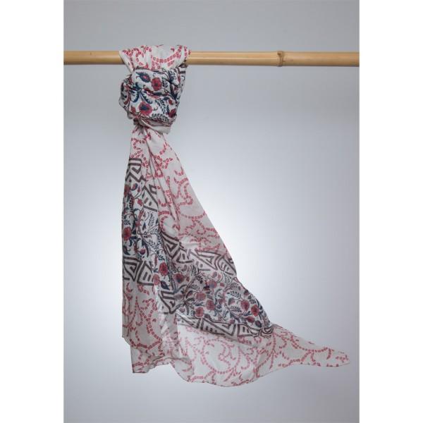 Cotton Printed Pareo 100% Cotton 105x180 cm Weiß mit schwarz - rotem Muster