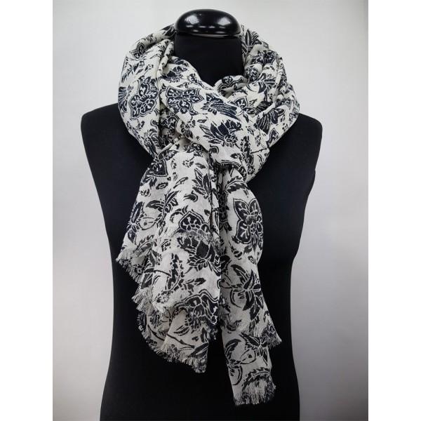 Schal Block print Blumen 65%Baumwolle/35%Modal 100 x 180 cm