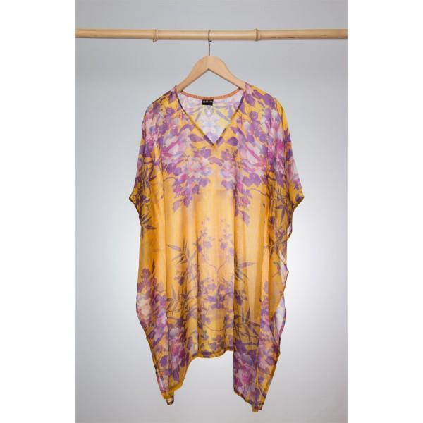 Kaftan Seide 100% Silk 95cm (V-Neck) cm Gelb mit pinken Blumen