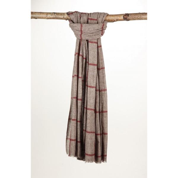 Wollschal 70% Wolle 30% Cotton 70X200 cm Rotes Gitter Auf Braun