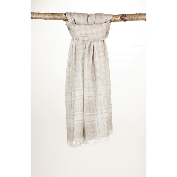 Wollschal 50%Cotton/50%Wolle 100X180 cm Hahnentritt Beige