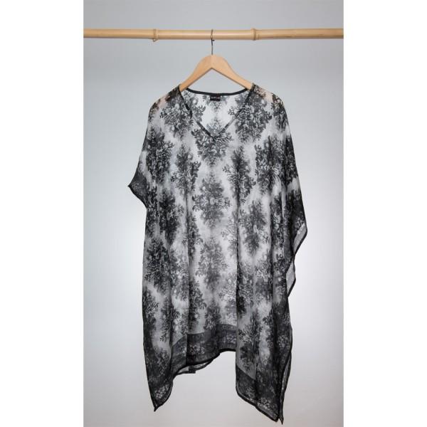 Kaftan Seide 100% Silk 95cm (V-Neck) cm Schwarz