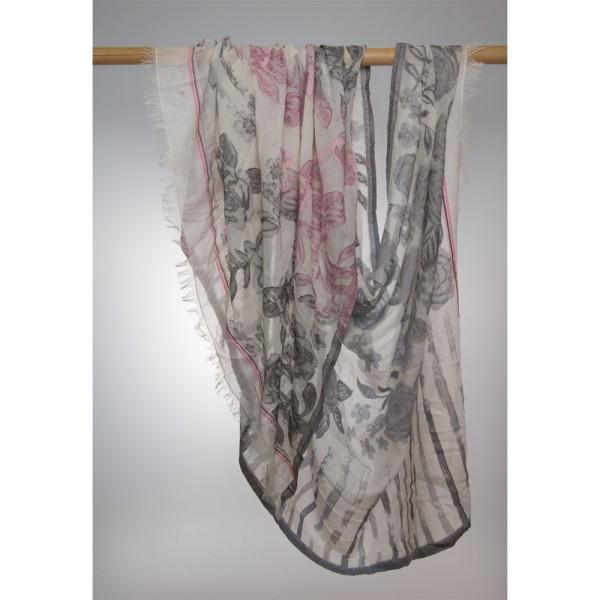 Wollschal 100% Wolle 100X180 cm Weiß Mt Rosen I Grau Un Rosa
