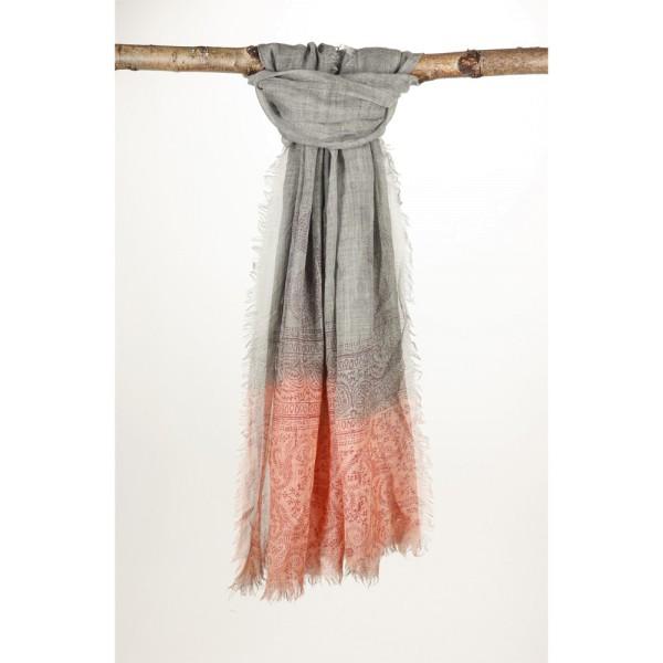 Wollschal 90%Wolle 10% Silk 100X200 cm Grau/Orange