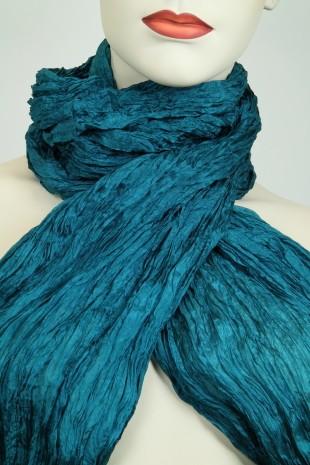 8197-13 Crash-Schal-100% Seide -harbor blue