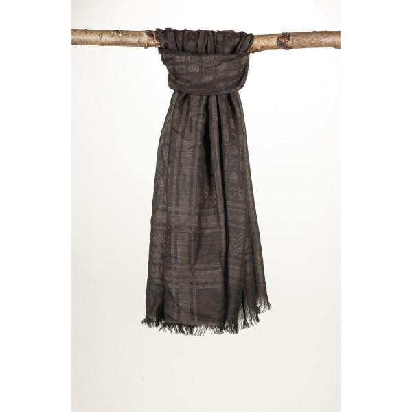 Wollschal 50%Cotton/50%Wolle 100X180 cm Punkte Braun