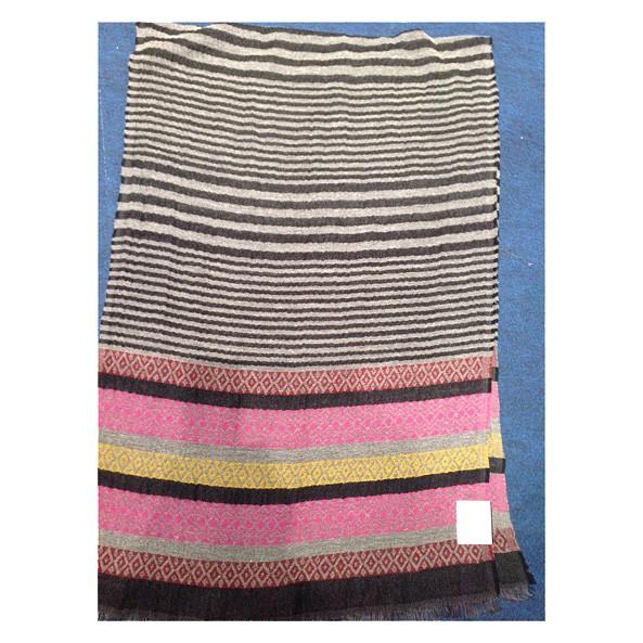 Wollschal 90% Lammwolle/10%Seide 70 x 180 cm Streifen-Unisex Schwarz Weiß Pink