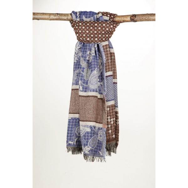 Wollschal 90X180 cm Braun/Blau