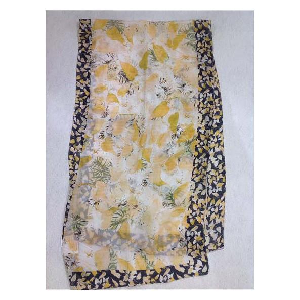 Seidenschal mit Digitaldruck 100% Seide 50x180 cm Blumen-Gold