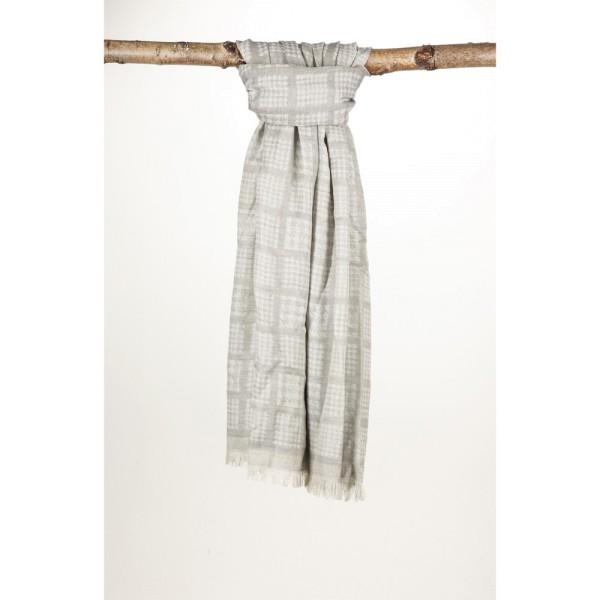 Wollschal 50%Cotton/50%Wolle 70X180 cm Karo Hahnentritt Grau