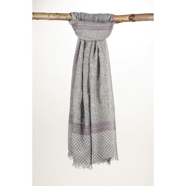 Wollschal 90%Wolle 10% Silk 100X200 cm Grau