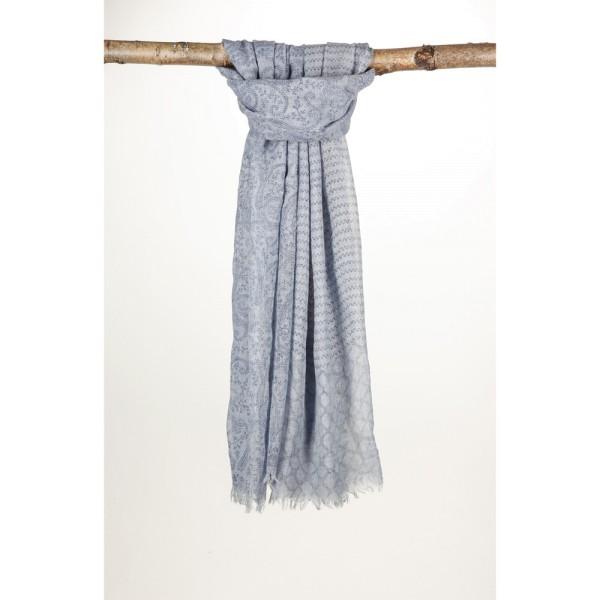 Wollschal 90%Wolle 10% Silk 100X200 cm Blau