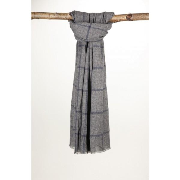Wollschal 70% Wolle 30% Cotton 70X200 cm Graues Gitter