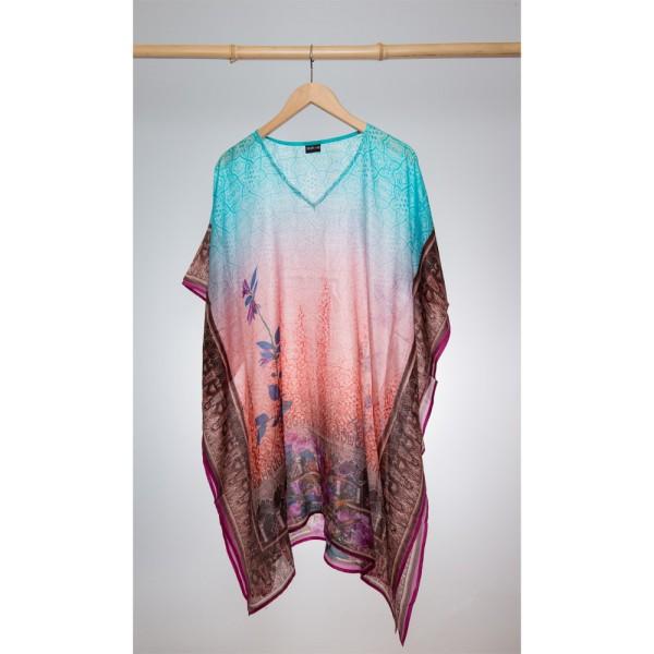 Kaftan Seide 100% Silk 95cm (V-Neck) cm Rosa Blau Verlauf mit Ornament Rand