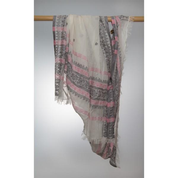 Wollschal 100% Wolle 100X180 cm Weiß Mit Ornamenten I Grau Und Rosa