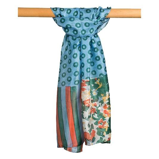 Seidenschal 100% Seide 50 x 180 cm Blau mit Grünen und Orangen Mustern