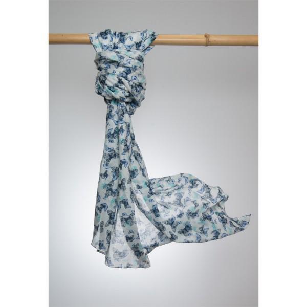 Cotton Printed Pareo 100% Cotton 105x180 cm Weiß/Blau