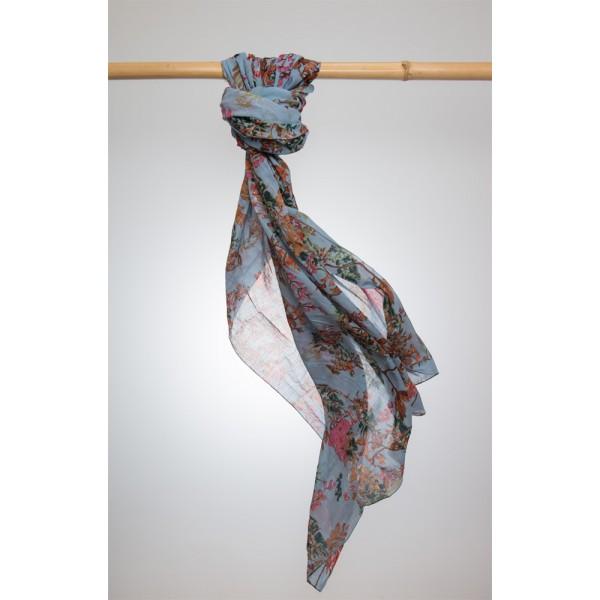 Cotton Printed Pareo 100% Cotton 105x180 cm Jeansblau mit Blumenmotiv