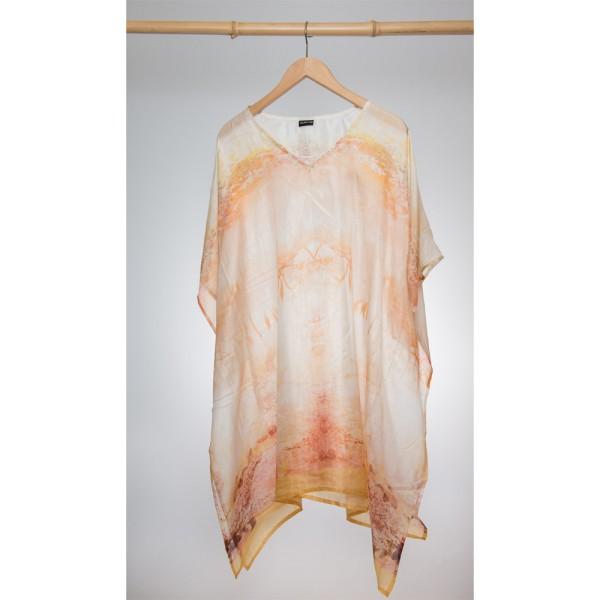 Kaftan Seide 100% Silk 95cm (V-Neck) cm Weiß / Apricot
