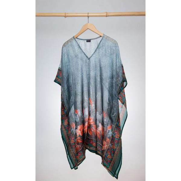 Kaftan Seide 100% Silk 95cm (V-Neck) cm Grau