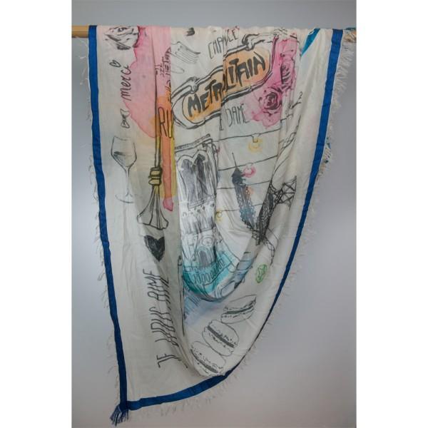 Cotton-/Seideschal Handpaint 92% Cotton/80% Silk 135X135 cm