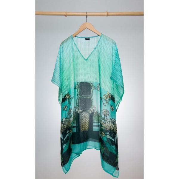 Kaftan Seide 100% Silk 95cm (V-Neck) cm Aqua