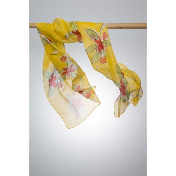 Seidenschal 100%Silk 50x180cm Gelb