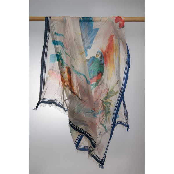 Cotton-/Seideschal Handpaint 92% Cotton/80% Silk 100X180 cm
