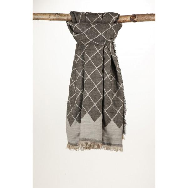 Wollschal 72%Cotton/28%Wolle 90X180 cm Grau/Braun