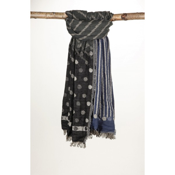 Wollschal 90X180 cm Blau/Schwarz