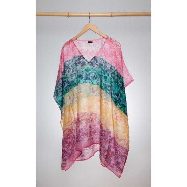 Kaftan Seide 100% Silk 95cm (V-Neck) cm Multi
